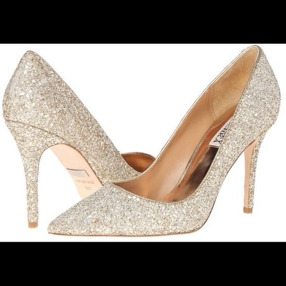 Badgley Mischka Kay Gold Glitter Heels